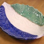 Textured Striped Leaf Platter